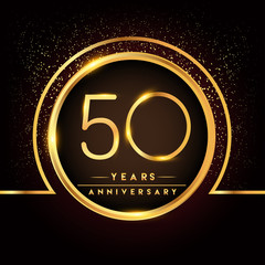 fifty years birthday celebration logotype. 50th anniversary logo with confetti and golden ring isolated on black background, vector design for greeting card and invitation card.