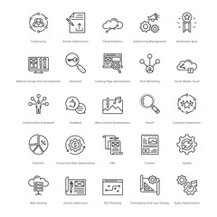 Web and SEO Line Vector Icons 15