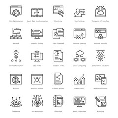 Web and SEO Line Vector Icons 28