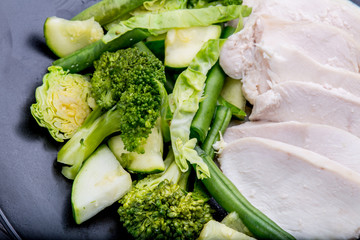 Closeup Healthy Chicken and Green Vegetables