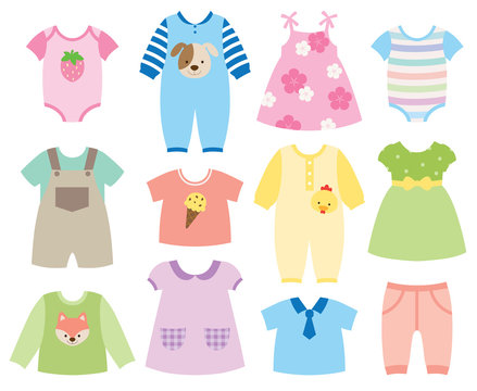 Vector illustration of baby and children clothes collection.
