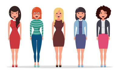 Set of diverse business characters, businesswomen dressed in different styles of clothes. Geometric people. Simple cartoon flat design. Vector illustration.