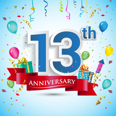 13th Years Anniversary Celebration Design, with gift box and balloons, Red ribbon, Colorful Vector template elements for your thirteen birthday celebrating party.