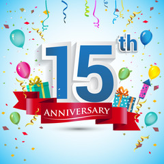 15th Years Anniversary Celebration Design, with gift box and balloons, Red ribbon, Colorful Vector template elements for your fifteen birthday celebrating party.