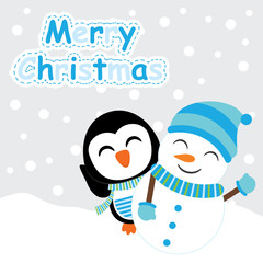 Xmas card with cute penguin and snowman vector cartoon on snow fall background, Xmas postcard, wallpaper, and greeting card, vector illustration