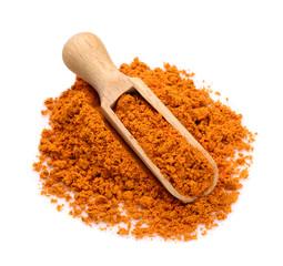 Saffron powder in a scoop for spices