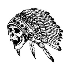 skull in native american indian chief headdress. Design element for poster, t-shirt. Vector illustration.