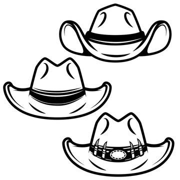 Set of cowboy hats isolated on white background. Design element for logo, label, emblem, sign. Vector illustration