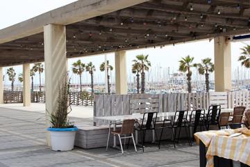 Restaurant is on the beach