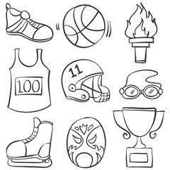 Doodle of sport equipment style hand draw