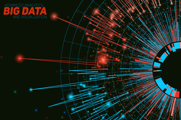 Fotoväggar - Vector abstract round big data visualization. Futuristic infographics design. Visual information complexity. Intricate data threads graphic. Social network or business analytics representation.