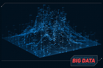 Fotoväggar - Vector abstract 3D big data visualization. Futuristic infographics aesthetic design. Visual information complexity. Intricate data threads graphic. Social network or business analytics representation