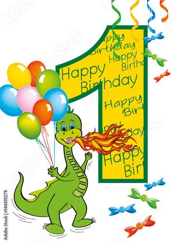 Buon Compleanno Bambino Numero 1 Con Draghetto Stock Image And