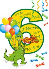 buon compleanno bambino numero 6 con draghetto