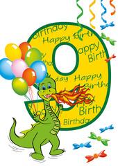buon compleanno bambino numero 9 con draghetto