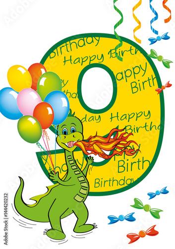 Buon Compleanno Bambino Numero 9 Con Draghetto Stock Image And