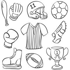 Collection stock of sport equipment doodles