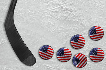 Hockey stick and american pucks