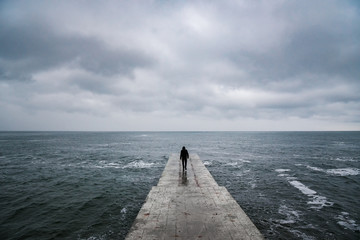 Back view portrait of young man goes to sea on pier Wall mural