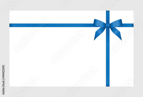 Gift Certificate Gift Card With Blue Ribbon And A Bow On White