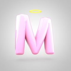 Cute angelic pink letter M uppercase with halo