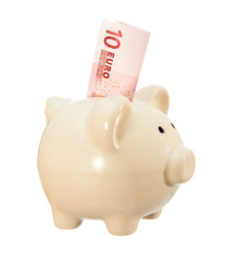 Piggy bank in the form of a pig with a denomination of 10 euros. Isolated