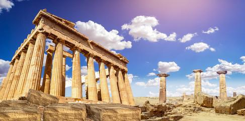 Poster Athens ruins of Parthenon temple of goddess Athena in Acropolis Athens, Greece