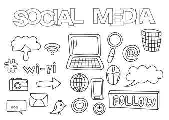 Social media elements hand drawn set. Coloring book template.  Outline doodle elements vector illustration. Kids game page.