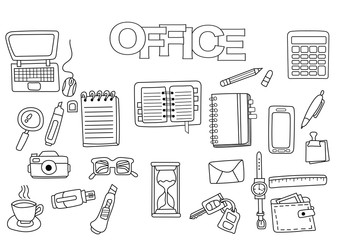 Hand drawn office set. Coloring book template.  Outline doodle elements vector illustration. Kids game page.