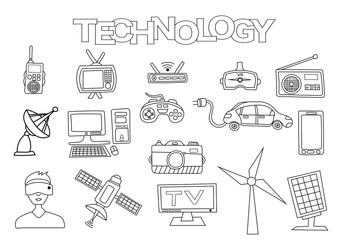 Technology elements hand drawn set. Coloring book template.  Outline doodle elements vector illustration. Kids game page.