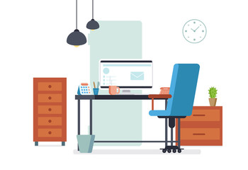 Office interior in flat style design. Modern business workplace room. Corporate or freelance place with desk, pc, armchair and other furniture. Vector illustration.