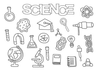Science elements hand drawn set. Coloring book template.  Outline doodle elements vector illustration. Kids game page.