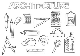 Architecture elements hand drawn set. Coloring book template.  Outline doodle elements vector illustration. Kids game page.