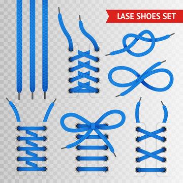 Blue Lace Shoes Icon Set