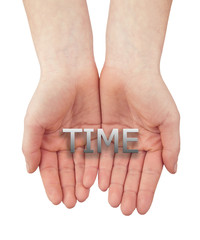 woman open hand with text time isolated on white