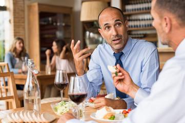 Businessman having lunch
