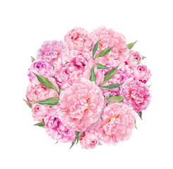 Floral circle background - pink peony flowers. Watercolor