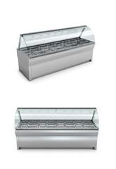 Freezer shop or shelf on a white background. 3D illustration.
