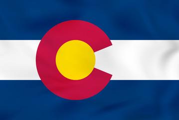 Colorado waving flag. Colorado state flag background texture.