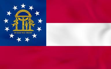 Georgia waving flag. Georgia state flag background texture.