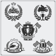 Set of racing motorcycle emblems, badges, labels and design elements. Monochrome style.