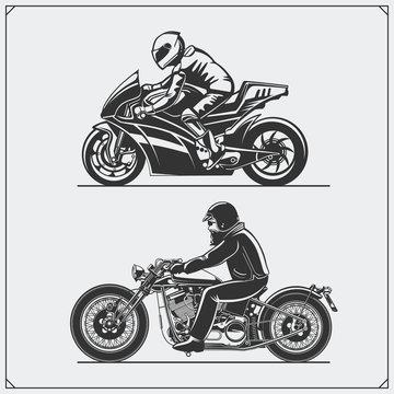 Motorcycle riders. Emblems of biker club. Vintage style. Monochrome design.