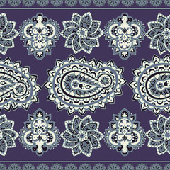vintage seamless pattern. Indian style vector ornament