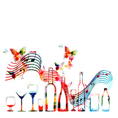 Colorful bottles and glasses with music notes isolated vector illustration. Background for restaurant poster, restaurant menu and music events