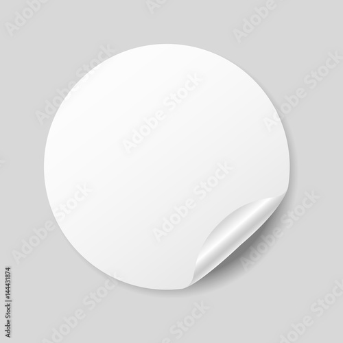Blank white round sticker with curled corner realistic mockup