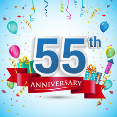 55th Years Anniversary Celebration Design, with gift box and balloons, Red ribbon, Colorful Vector template elements for your fifty five birthday celebrating party.