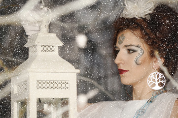 Portrait of a woman in the role of the Snow Queen