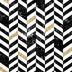 Seamless Chevron Pattern with Glittering Gold Elements