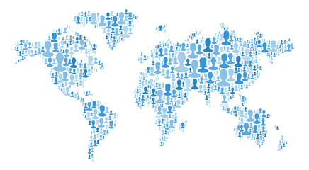 The map of the world made of plenty people silhouettes. Collection of different people portraits placed as world map shape. World map made out of large group of people silhouettes. Blue colors