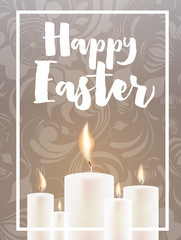 Happy Easter Card with Candles and Floral Ornament.